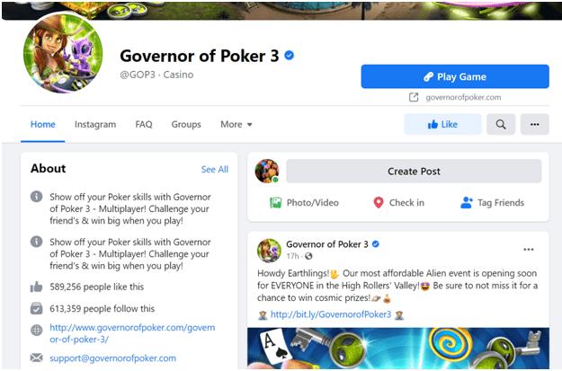 Governor of 3 poker Facebook