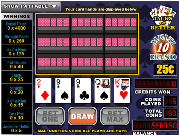 How to play Multi-Hand Video Poker Online