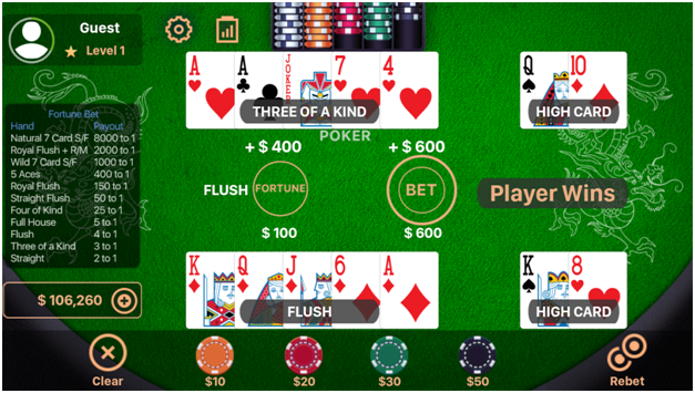 Game Featrues of Pai Gow Casino App - 3 kartu permainan poker