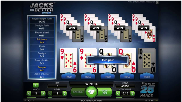 Jacks or better multihand video poker - Double up feature