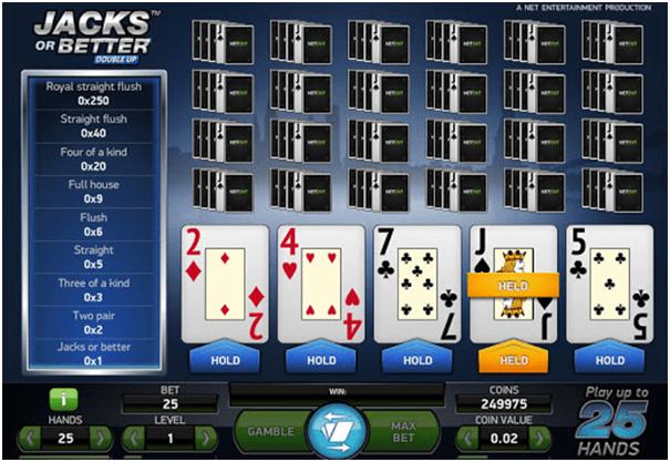 Jacks or better multihand video poker