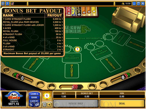 More about the bonus bet in Pai Gow