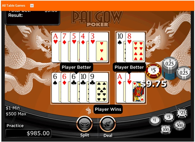 Pai Gow poker RTG features