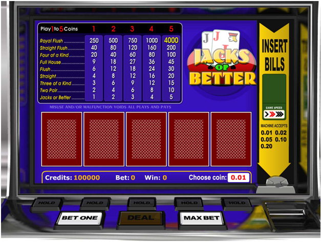 Aturan bermain Jacks atau Better Poker
