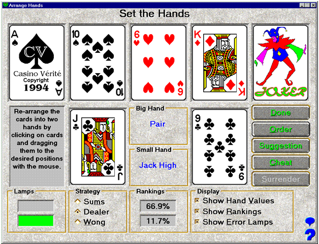 Hand settings in Pai Gow